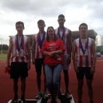 U15B 4 x 300m 3rd place with Team Manager Kate