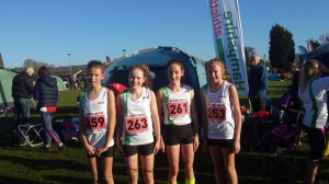Southampton AC U13 girls in Hampshire vests SEAA xc Dec 14
